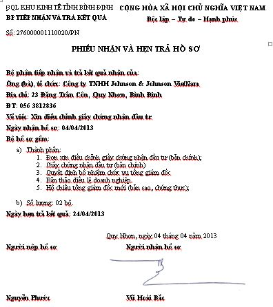 Binh dinh receipt of application for investment certificate amendment yelopaper Choice Image