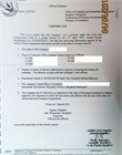 Certified copies of certificate of incorporation